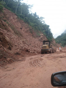 Partially cleared landslide – massive section of mountain missing